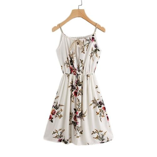 Chiffon Summer Beach Dress Floral Print Random Self Tie Cami Dress