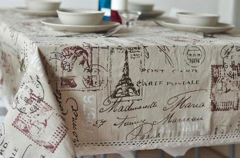 Stamp print Dining Table Cover Table Cloth