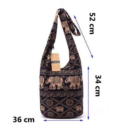 Cotton Shoulder Bohemian Style Messenger Bag Elephant Print Crossbody Bag