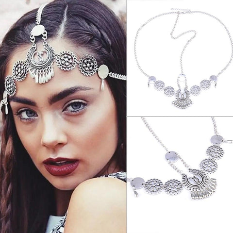 Boho Hair Alloy Piece Chains Tassel Tiaras Bohomia Headbands