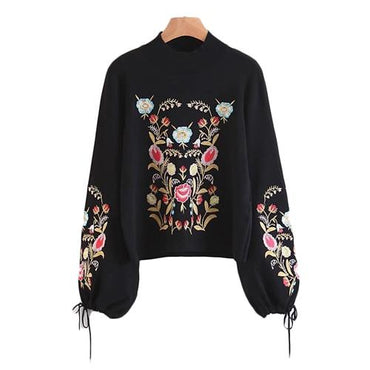 Embroidery Women Sweater Black Sweater