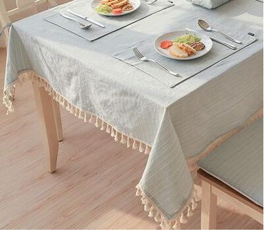Japan Style Linen Cotton Tassel Table Cloth