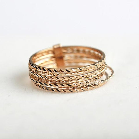 7 pcs/set Rings Carving Rose Gold color ring