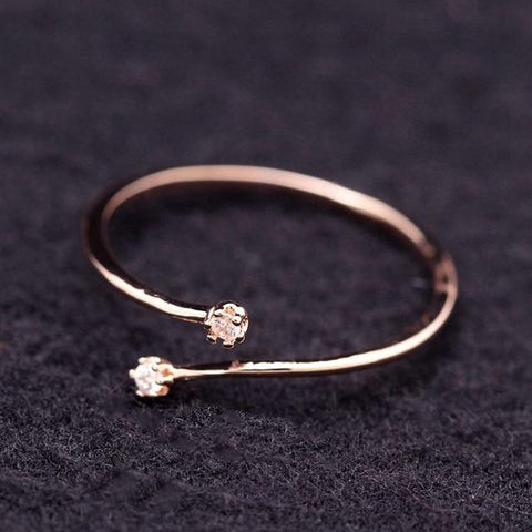 Cute Small Cubic Zircon Adjustable Ring