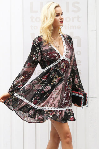 Floral print ruffles long sleeve autumn dress