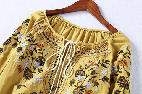 Boho Floral Embroidery Cotton Shirt Tops