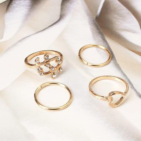 4Pcs Simple Design Vogue Sweetheart Tree Leaf Leaves Knuckle Ring Set