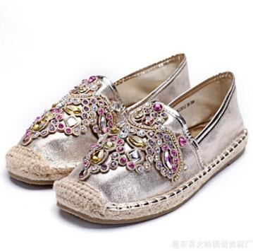 colorful rhinestone fisherman espadrilles shoes