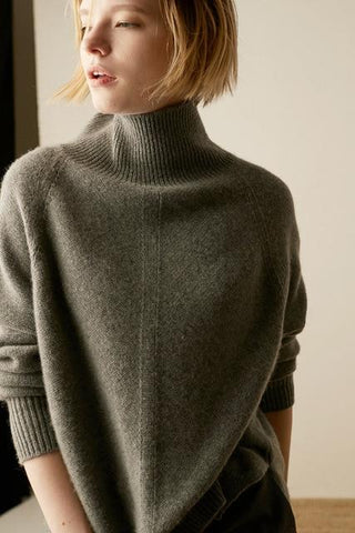 High-Necked Pullover Loose Thick Sweater