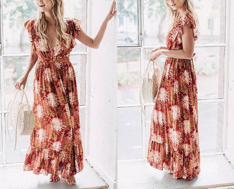 Sexy v neck ruffle print summer Boho dress