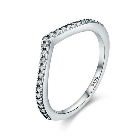 925 Sterling Silver Water Droplet Clear CZ Finger Ring