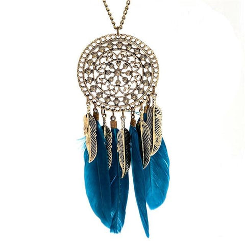 Boho Retro Feather Alloy Chain Coin Ethnic Indian Style Dream Catcher Necklace