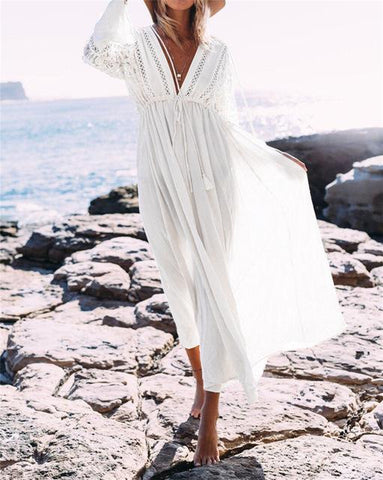 Boho Deep V Neck Hollow Out Long Dress