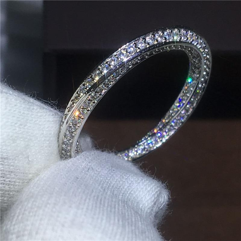 Cross Pave setting Cz stone Engagement band ring