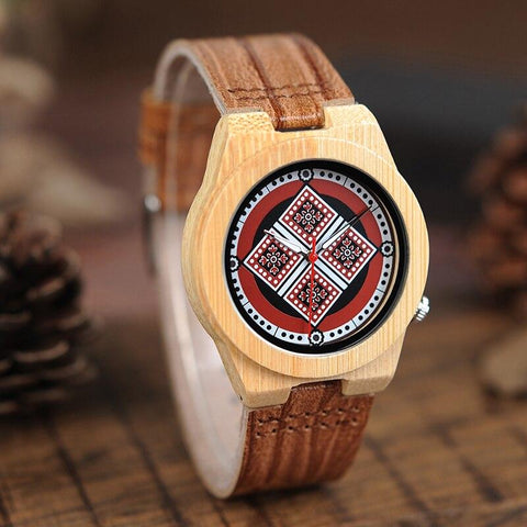Bohemian Style Printing Pattern Dial Leather Watch