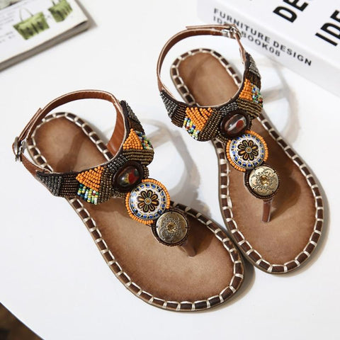 Bohemia Sandals Summer Boho Flat Heel Metallic Beads Ethnic Rhinestone Shoes