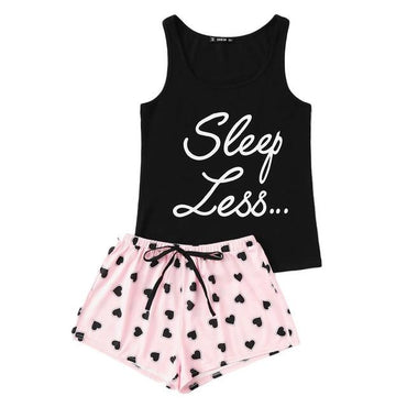 Letter Print Top Drawstring Waist Shorts Pajama Set