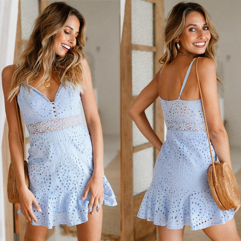 Summer Style Camis Blue Lace Retro Dress