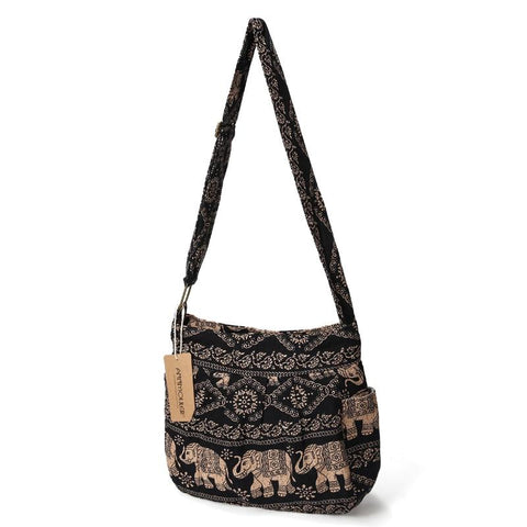 Cotton Fabric Crossbody Tribal Elephant Print Hobo Bag