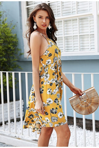 Halter floral print mini boho dress