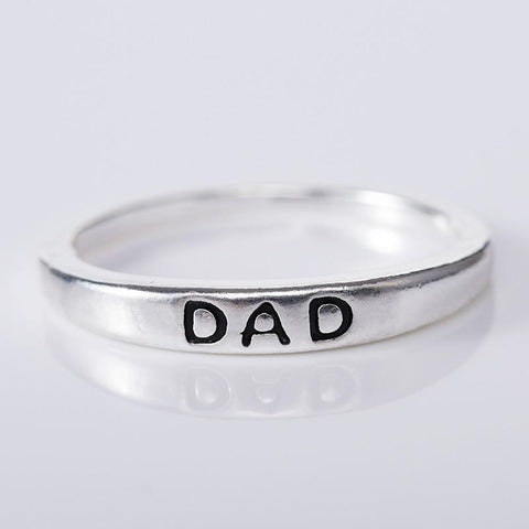 Classic Silver Letter Mom and Dad Ring
