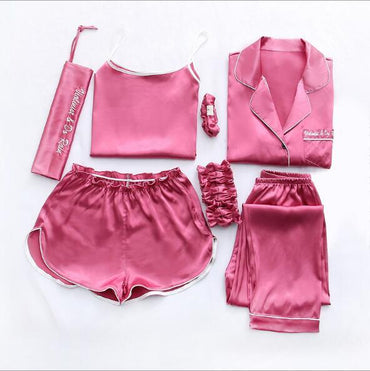 Home Clothes Sexy Silk Pajamas 7 Pieces