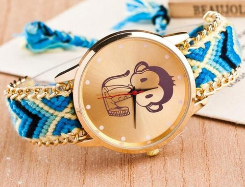 Boho Style Clock Elephant Pattern Weaved Rope Band Bracelet Quartz