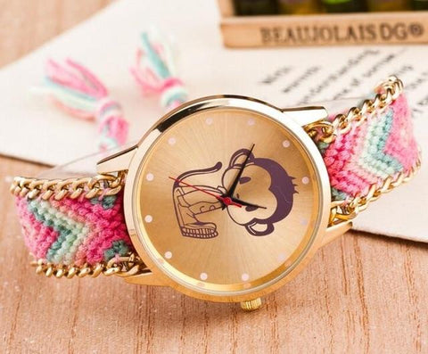 Boho Style Watches Women Pattern Weaved Rope Band Bracelet Quartz