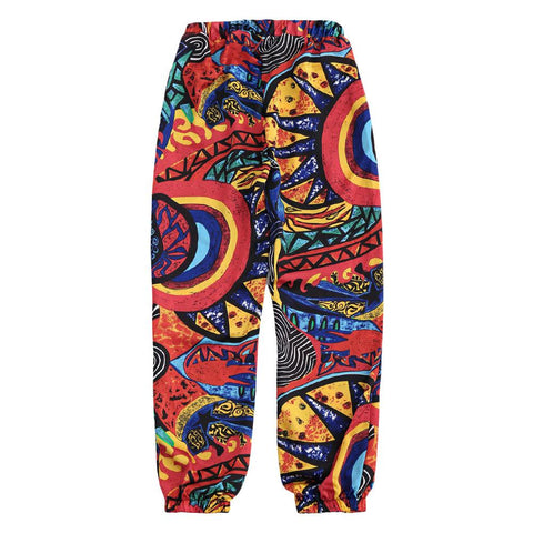 Graffiti Print Tapered Drawstring Beach Pants