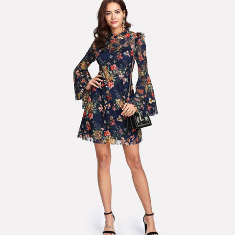 Flower Print Swing A Line Long Sleeve Dress
