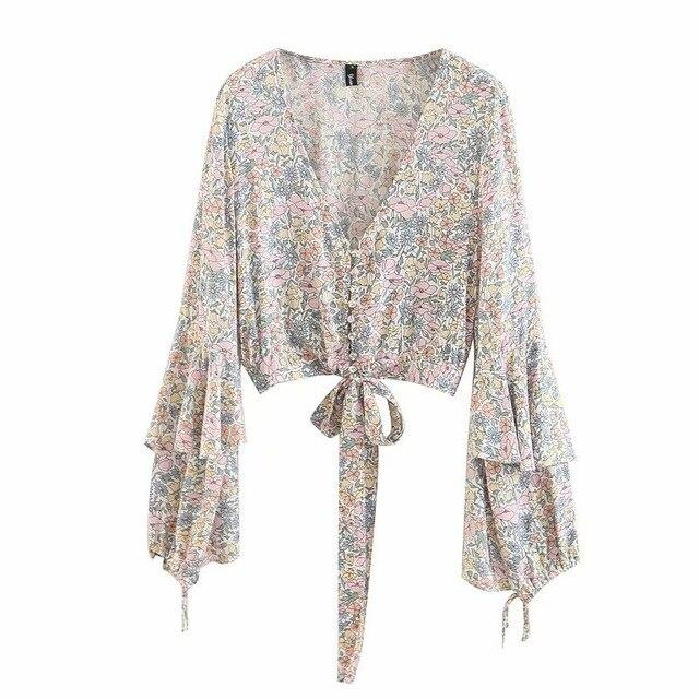 Lace Up Sexy Shirts Flower Printing Boho Crop Top