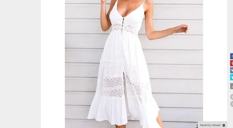 White Party Sundress Lace Vneck Maxi Dress