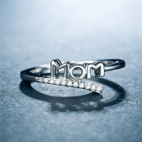 Zircon Silver  Mom Finger Ring