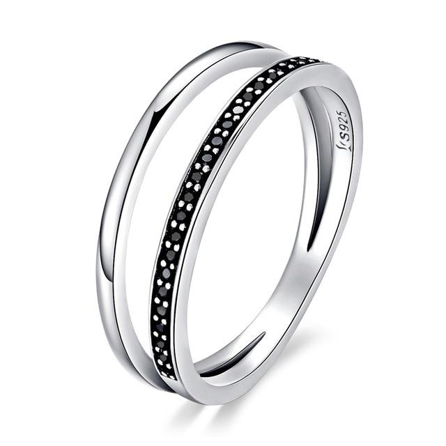 Double Circle Black Clear CZ Stackable Finger Ring