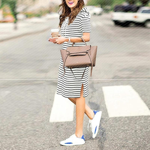 Casual Work Office Wear Loose  Short Sleeve Hoodies Striped Dress
