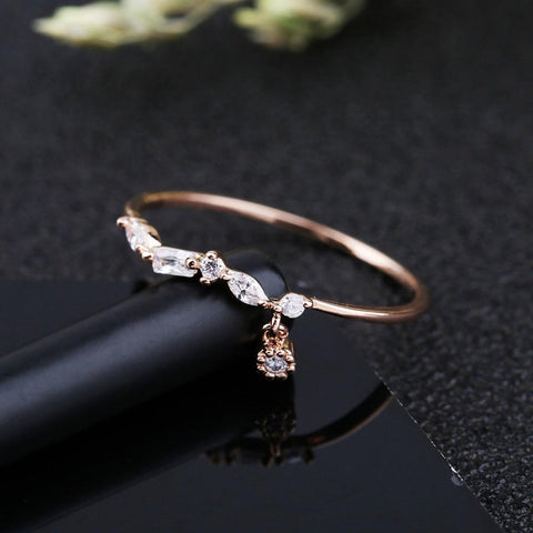 Small CZ Stone Pendant Geometric Zirconia Ring