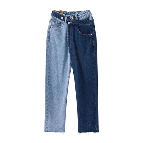 Patchwork Jeans For Women High Waist  Denim Long Trousers