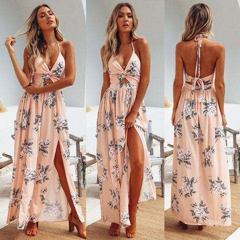 Boho Floral Halter Maxi Long Dress