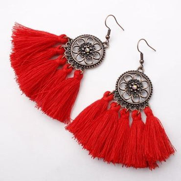 Ethnic Bohemian Drop Dangle Long Rope Retro Tassel Earrings
