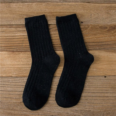 Autumn Winter Wool Thicken Warm Rib Loose Stacked Basics Socks
