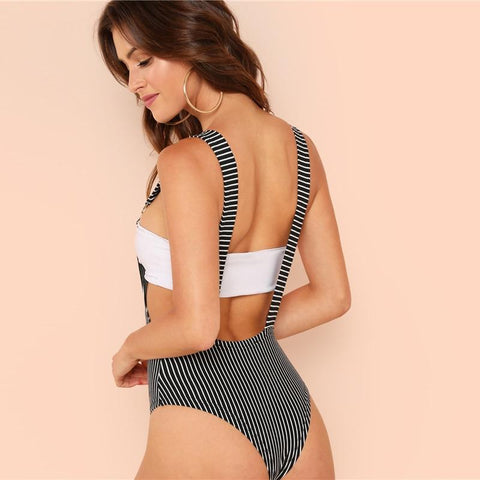 Stripe with Suspender Straps Bodysuit