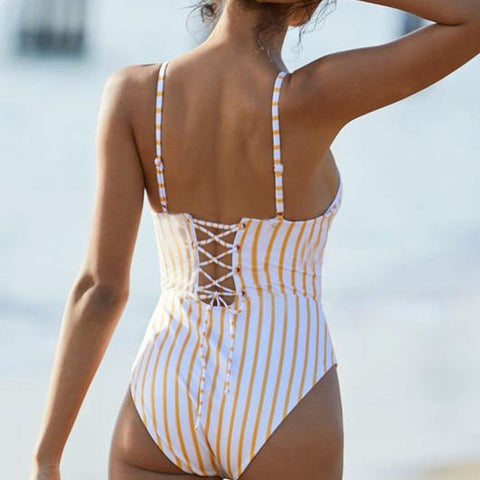 Criss Cross Stripe One-piece Deep V Neck Summer Sexy Backless Bikini Set