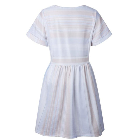 Casual Short Sleeve O-Neck Draped Striped A Line Mini Dress