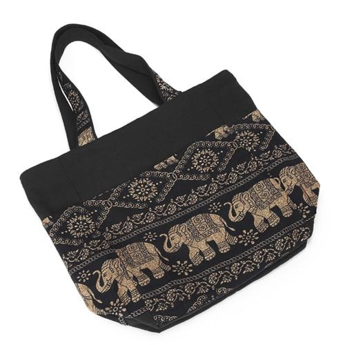 Elephant Printed  Canvas Patchwork Tote Bags