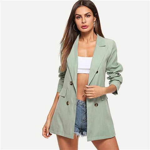 Green Workwear Double Breasted Blazer Suit