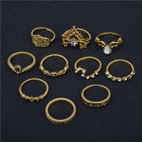10 pc/set Boho Charm Silver Vintage Punk Ring