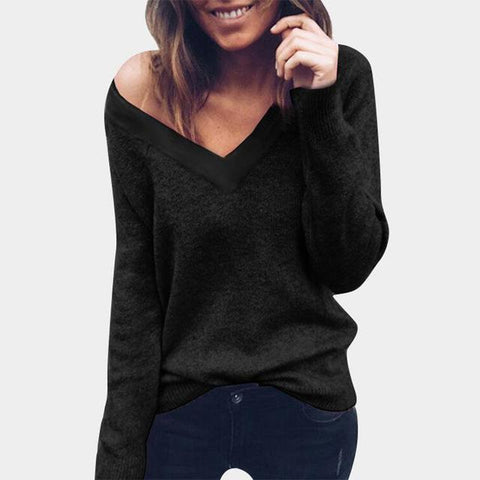V neck knitted autumn solid basic slim sweater