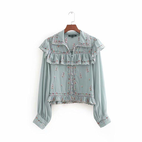 Floral Embroidered Ruffled Chiffon Cropped Blouse