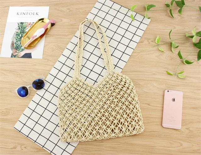 hand-woven hollow straw bag