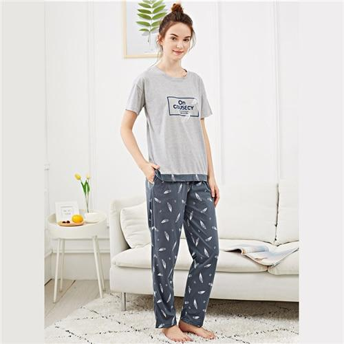 Feather & Letter Print Pajama Set